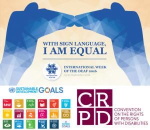 Logos of IWD 2016, SDGs and CRPD